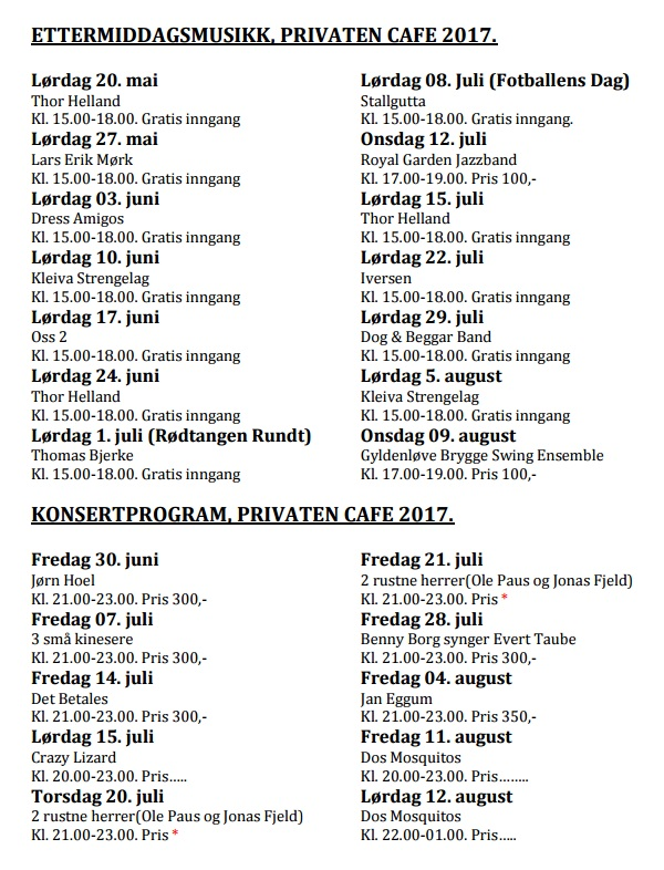 Privaten Café - 2017